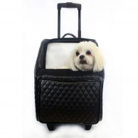 Vienna Quilted Wheeled Pet Carrier in Black