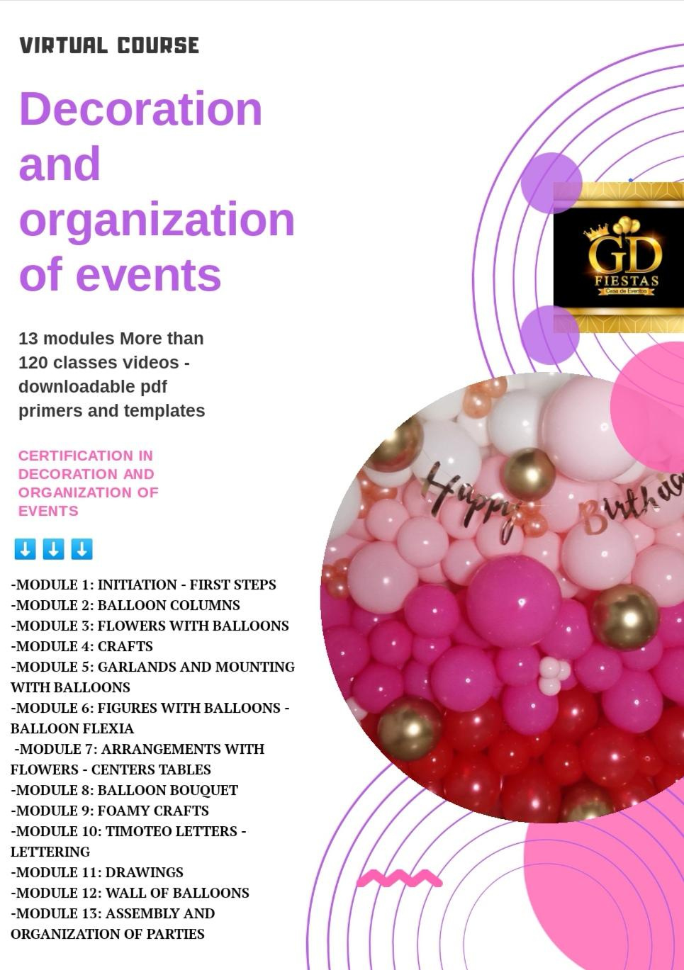 Virtual course decoration and organization of events